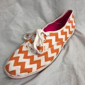 Keds Kate Spade Shoes Sz 10 Orange White Chevron